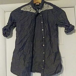 Little girls button up jean shirt with lace!